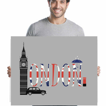 London Poster ~ Unique Gifts for Men ~ England Print husband gift, London Decor gift for boyfriend, London Art Unusual Gifts,  London gifts