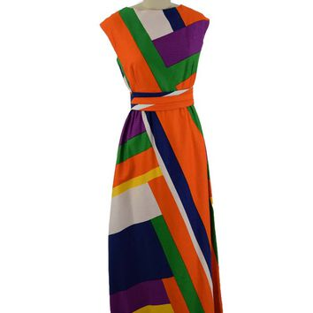 70s Malia Bold Colorblock Maxi Dress-M