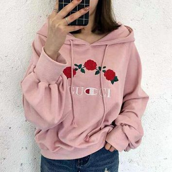 Women Fashion GUCCI Rose Flower Embroidery Top Sweater Pullover Hoodie