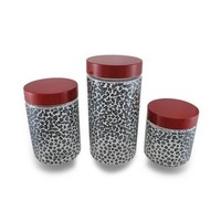 Set of 3 Black and Gray Cheetah Print Clear Glass Storage Jars w/Red Lids - Walmart.com