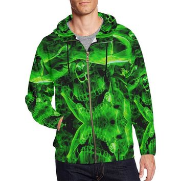 Green Burning Skulls Men's All Over Print Full Zip Hoodie