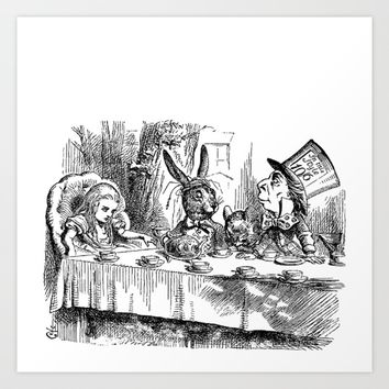 Vintage Alice in Wonderland Mad Hatter & rabbit tea party antique goth emo book gothic drawing print Art Print by iGallery
