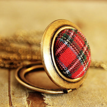 Red Plaid Locket  Vintage Red Plaid Button by HeartworksByLori