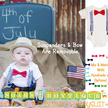 Boys 4th of July Shirt - Baby 4th of July Outfit - Chevron - Red White and Blue - Suspenders Bow Tie - Patriotic - Memorial Day - First 4th