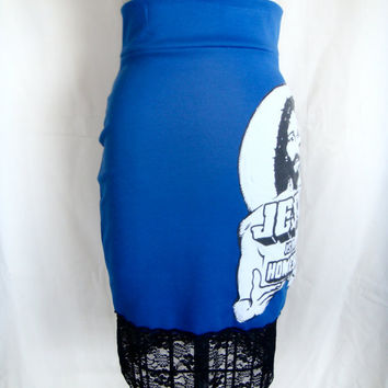 Royal Blue 'Jesus is my Homeboy' Knit Pencil Skirt w/ Lace Hem and Zip Back.