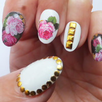 Fake Nails Roses Studs Gold Floral Round by NailKandy on Etsy
