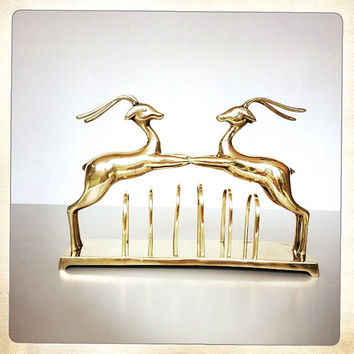 brass letter holder gazelle ibex deer gold glam unique desk accessory vintage