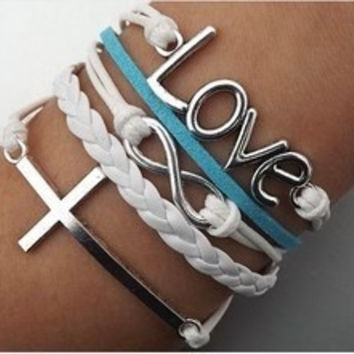 Fashion Love Infinity Cross Bracelet = 1652807300