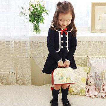 2017 Baby Girls Long Sleeve Dress For Baby Girls Blue Dress Girls School Uniform Dress With Bowknot Ropa England Style Costumes