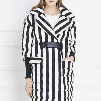 High Quality Winter Women Thick Down Coat Women's 3/4 Sleeve Black And White Striped Pattern Duck Down Parkas Jacket