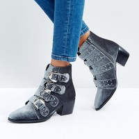 Truffle Collection Stud Buckle Strap Mid Heel Boot at asos.com