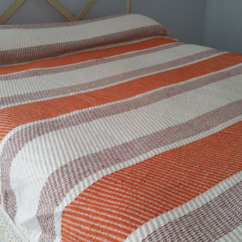 Seventies  White with Orange and Brown Stripe Twin Size Fringe Bedspread