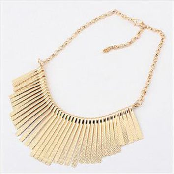 Sunshine jewelry Collar Necklace Metal Multilayer Chain Tassel Choker Bib False Gold silver necklace for lady Women
