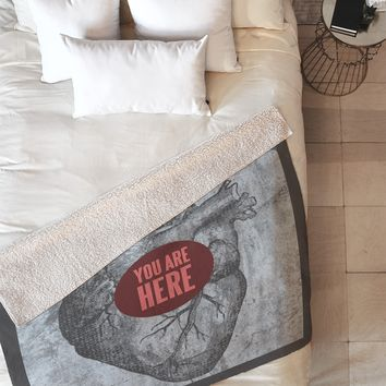 Wesley Bird You Are Here Fleece Throw Blanket