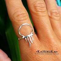 Jellyfish Ring, Sterling Silver, Hammered Ring, 14K Gold Filled