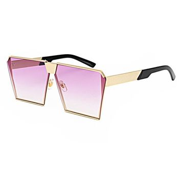 Metal Unique Sunglasses Square  ombre lens Fashion Glasses