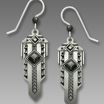 Adajio Earrings - Hinged Metal Art Deco Style with Hematite Diamond-Shaped Faceted Cabochon