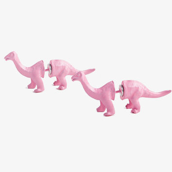 Pink Dinosaur Double Sided Stud Earrings