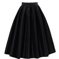 PrettyGuide Women High Waist A Line Pleated Midi Bubble Skirt Black