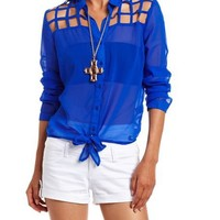 Caged Tie-Front Blouse: Charlotte Russe