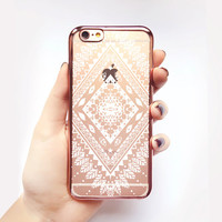 Transparent Tribal Pattern iPhone Case - Transparent Case - Clear Case - Transparent iPhone 6 - Transparent iPhone 6S - Gel Case - Soft TPU