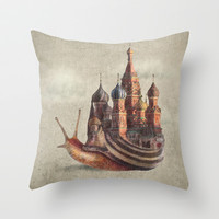 The Snail's Daydream Throw Pillow by Eric Fan