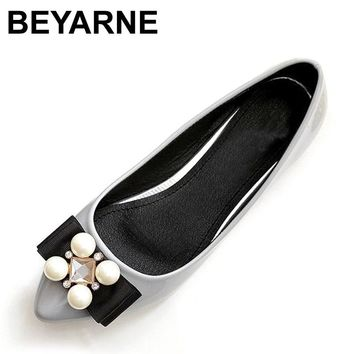 BEYARNE New Women Soft Leather Flats Fashion Spring Casual Black Pointy Toe Ballerina Ballet Flat Slip On Shoes Work Shoes