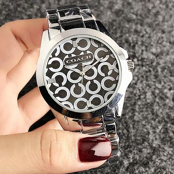 """COACH"" Trending Woman Men Stylish Personality Quartz Movement Wristwatch Watch Silvery I-H-JH"