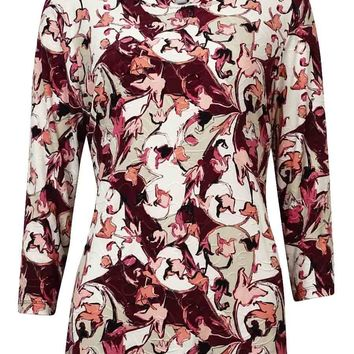 JM Collection Women's Printed Textured Jersey Blouse