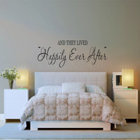 And they lived happily ever after vinyl wall decal for master bedroom vinyl lettering wall quote wall words wall sayings wall art