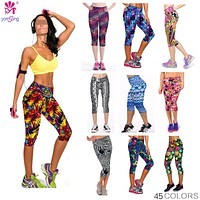 Floral Printing Capri Leggings Lady's  Casual Stretched Pants  Elastic Cropped Leggings  Women  Legging RL156