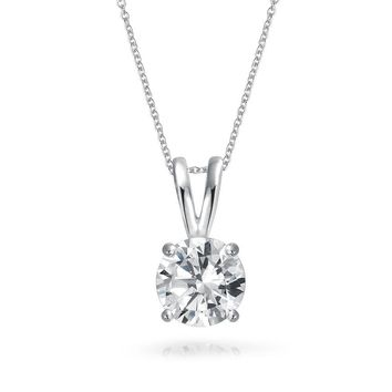 1CT Round Solitaire Pendant Cubic Zirconia CZ Necklace Sterling Silver