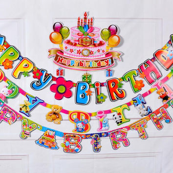 2.2M Birthday Party Event Banner Colorful Garland Birthday Party Decorations Kids Paper Bunting Flag Festivel Event Accessories
