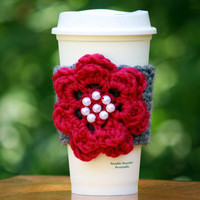 Grey with Pink Flower Crochet Cup Cozy, Coffee Sleeve