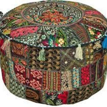 Bohemian Rajasthali Patch Work Pouf Ottoman Traditional vintage Indian Pouf foot Stool, Decorative Chair Ottoman Cover 14x22 - Free Shipping