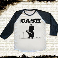 Size L -- JOHNNY CASH Shirts Country Rock Shirts Rock And Roll Shirts Baseball Tee Jersey Raglan Tee Long Sleeve Unisex Shirts Women Shirts