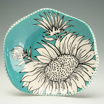 Retro Teal Blue Green, Black and White Hand Formed Shallow Bowl SunFlower Graphic Design Hand Painted Art Dinnerware