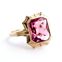 Antique 10k Yellow Gold Pink Stone Ring - 1930s Size 6 Solitaire Pink Stone Fine Jewelry / Esemco Art Deco Crown