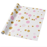 Pretty Pink and Gold Dots Wrapping Paper