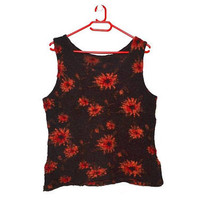 Brown Floral Wool Top Sleeveless Sweater Orange Red Flowers Large L
