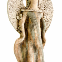 Wall decoration ceramic 3D ANGEL Sculpture from clay ceramic wall hanging Ceramic angel 3D ceramic wall art unique christening gift
