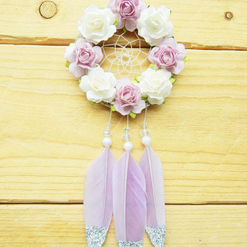 Purple Flower Dreamcatcher: Car Dreamcatcher, Car Accessories for Women, Boho Dreamcatcher, Purple Car Decor, Rearview Mirror Charm