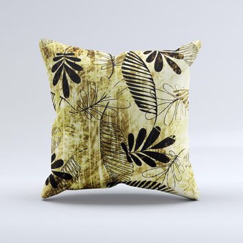 Black & Gold Grunge Leaf Surface Ink-Fuzed Decorative Throw Pillow