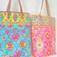 Colorful Neon Organic Flora Pattern on 100% Cotton Leather Strip Tote Bag . Beach Bag . Bolsos Tribu