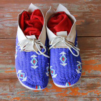 Vintage Beaded Moccasins, Sioux Origin, 1980's Trading Post