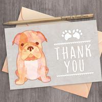 Watercolor Puppy Thank You Card Bulldog Puppy Birthday Thank You Note Puppy Party Greeting Card Pet Pawty Printable Animal Thank You Card
