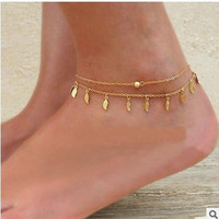 New Arrival Jewelry Ladies Shiny Sexy Stylish Gift Cute Tassels Leaf Hot Sale Chain Double-layered Anklet [11156945940]