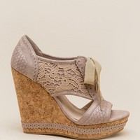 Addilyn Lace-Up Crochet Cork Wedge
