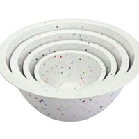 Confetti Nested Mixing Bowls (4-piece Set) - White. Environmentally Friendly. Use for Mixing or Serving.