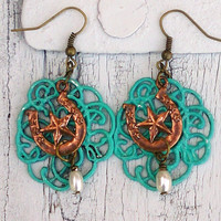 Horseshoe Star Earrings Turquoise Patina Western Cowgirl Pearl Jewelry
